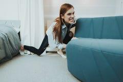 La giovane donna muove Sofa In The New Apartment fotografia stock libera da diritti