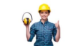 La giovane donna nel concetto industriale isolata su bianco Fotografia Stock Libera da Diritti