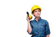 La giovane donna nel concetto industriale isolata su bianco Immagini Stock