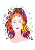 La giovane donna nello stile moden l'arte Immagine Stock