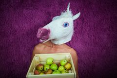 La giovane donna pazza nella maschera comica sta sui precedenti porpora Fotografia Stock