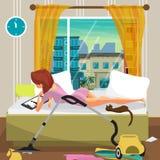 La giovane donna pigra si trova sul letto ed esamina il film sulla t illustrazione di stock