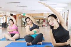 La giovane donna prepara l'yoga due donne di peso eccessivo Fotografia Stock Libera da Diritti