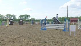 La giovane donna salta il cavallo sopra un ostacolo durante l'evento in un'arena stock footage