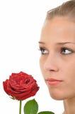 La giovane donna seria con colore rosso è aumentato Immagine Stock Libera da Diritti