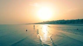 La giovane donna sexy sta camminando in acqua sulla spiaggia dorata in retroilluminato dal tramonto o dall'alba Le passeggiate sn video d archivio