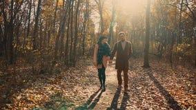 La giovane donna sta camminando con il ragazzo nella foresta pittoresca di autunno di giorno video d archivio