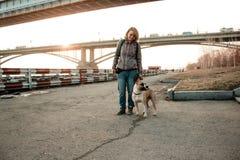 La giovane donna sta camminando con il suo cane nel parco di sera Immagini Stock Libere da Diritti