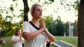 La giovane donna sta meditando stare su in parco mentre l'alba al rallentatore stock footage