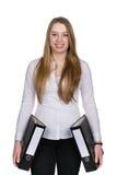La giovane donna tiene due archivi Fotografie Stock Libere da Diritti