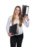 La giovane donna tiene due archivi Fotografia Stock Libera da Diritti