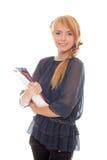 La giovane donna tiene nei dispositivi di piegatura e nei documenti delle mani Fotografie Stock Libere da Diritti