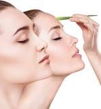 La giovane donna usa l'olio di vera dell'aloe per pelle Immagine Stock