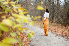 La giovane donna va sentiero per pedoni all'aperto nel parco di autunno Immagini Stock Libere da Diritti