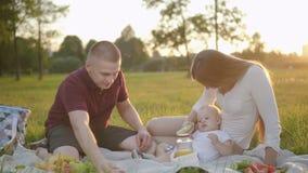 La giovane famiglia americana con il bambino infantile mangia la seduta sul picnic in parco verde video d archivio