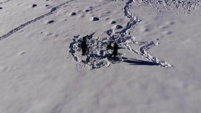 La giovane famiglia felice sta divertendo il gioco nella neve Allegro cadono nella neve La famiglia è insieme felice stock footage