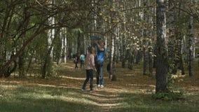 La giovane famiglia felice sta divertendosi nel parco di autunno all'aperto un giorno soleggiato Madre, padre ed il loro piccolo  fotografia stock libera da diritti