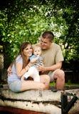 Famiglia sull'azienda agricola Fotografia Stock Libera da Diritti