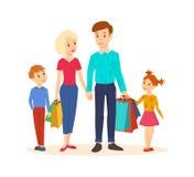 La giovane famiglia va d'accordo con gli acquisti uniti al centro commerciale illustrazione di stock