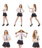 La giovane femmina allegra dello studente isolata su bianco Fotografia Stock