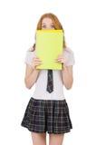 La giovane femmina dello studente con i manuali isolati Fotografia Stock Libera da Diritti