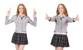 La giovane femmina dello studente della testarossa isolata su bianco Fotografia Stock Libera da Diritti