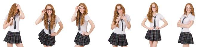 La giovane femmina dello studente isolata su bianco Fotografie Stock Libere da Diritti