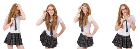 La giovane femmina dello studente isolata su bianco Immagini Stock