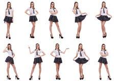 La giovane femmina impertinente dello studente isolata su bianco Fotografia Stock