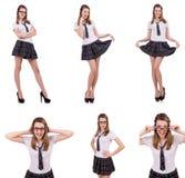La giovane femmina impertinente dello studente isolata su bianco Immagini Stock