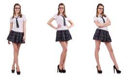 La giovane femmina impertinente dello studente isolata su bianco Fotografie Stock