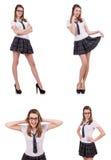 La giovane femmina impertinente dello studente isolata su bianco Fotografia Stock Libera da Diritti