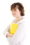 La giovane infermiera con un dispositivo di piegatura isolato Immagini Stock Libere da Diritti