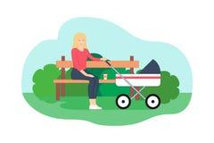 La giovane madre sta sedendosi sul banco Mamme sistematiche illustrazione di stock