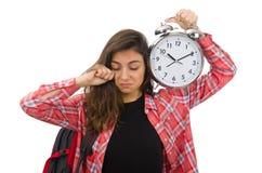 La giovane ragazza dello studente con la sveglia Fotografie Stock
