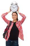 La giovane ragazza dello studente con la sveglia Immagini Stock Libere da Diritti