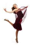 La giovane ragazza di bellezza sta ballando Immagine Stock Libera da Diritti