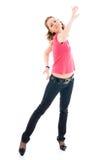 La giovane ragazza di dancing isolata su un bianco Fotografie Stock Libere da Diritti