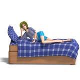 La giovane ragazza dolce del fumetto invita ad uno slumber Immagine Stock