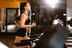 La giovane ragazza mora atletica si è vestita negli sport neri superiori e mette le calorie in cortocircuito delle ustioni sulla  immagini stock libere da diritti