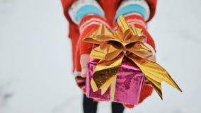La giovane scolara affascinante in guanti dà un regalo, esaminante la macchina fotografica nella scatola avvolta A della foresta  fotografia stock