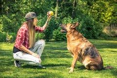 La giovane signora le insegna l'obbedienza del cane fotografia stock