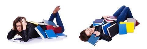 La giovane studentessa isolata su bianco Fotografia Stock Libera da Diritti