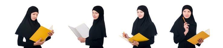 La giovane studentessa musulmana con i libri Fotografie Stock