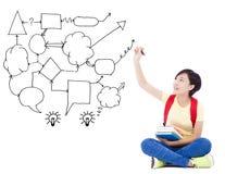 La giovani idea di tiraggio della mano della ragazza dello studente e concetto dell'analisi diagram Fotografie Stock Libere da Diritti