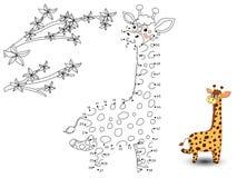 La giraffa collega i punti e colora illustrazione vettoriale