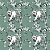 La giraffa, l'ananas e l'orso bianco, beaver il modello senza cuciture Royalty Illustrazione gratis