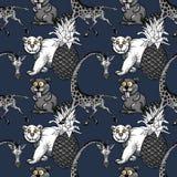 La giraffa, l'ananas e l'orso bianco, beaver il modello senza cuciture Illustrazione Vettoriale