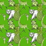 La giraffa, l'ananas e l'orso bianco, beaver il modello senza cuciture Illustrazione di Stock