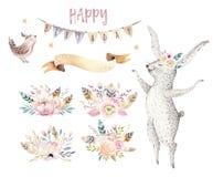 La giraffa sveglia del bambino, topo ed orso animale della scuola materna dei cervi, procione e coniglietto ha isolato l'illustra Fotografia Stock
